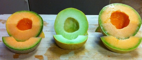 Cantaloupe, Galia and Orange Honeydew Melons