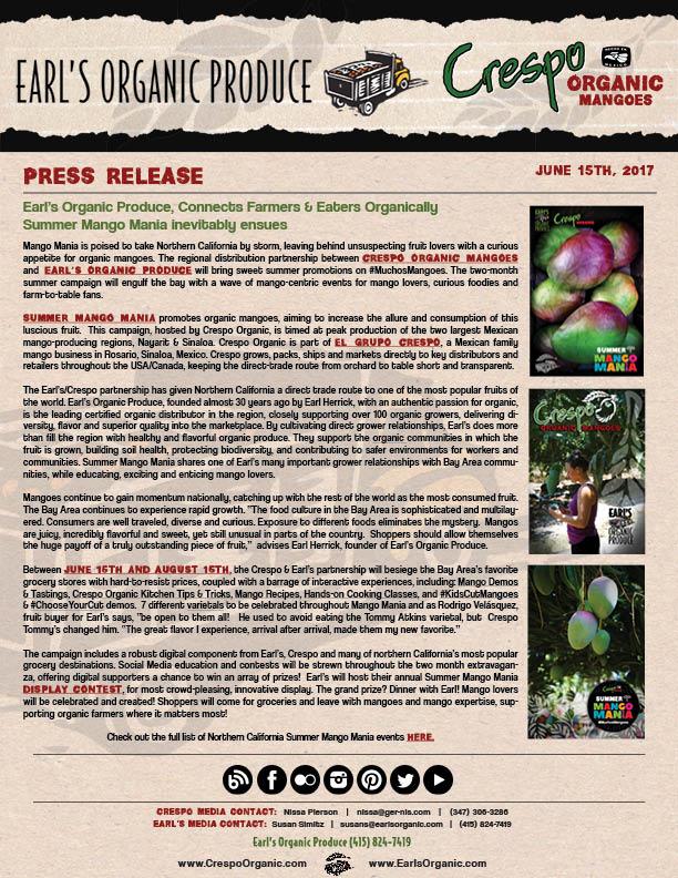 June 15th, 2017 - Earl's Organic & Crespo Organic Summer Mango Mania